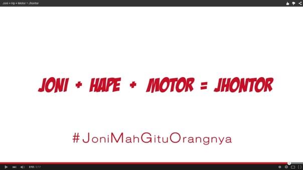 Joni + Hape + Motor = Jhontor