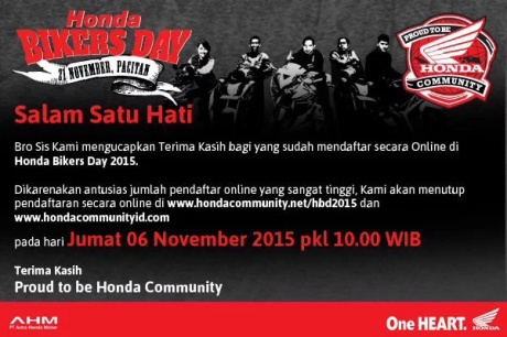 Pendaftaran Honda Bikers Day ditutup