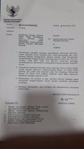 Surat Kemenhub Pelarangan Gojek