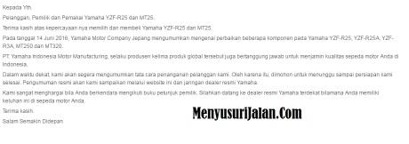 Surat Recall Yamaha Indonesia
